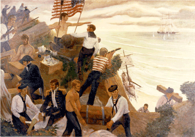 A modern painting depicting the October 1814 military engagement off Northville, Long Island. (Credit: U.S. Coast Guard Academy Collection)