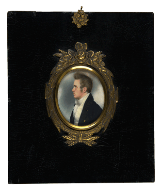 Nathaniel Jocelyn, miniature watercolor on ivory, 1817 by George Munger, courtesy Yale University Art Gallery