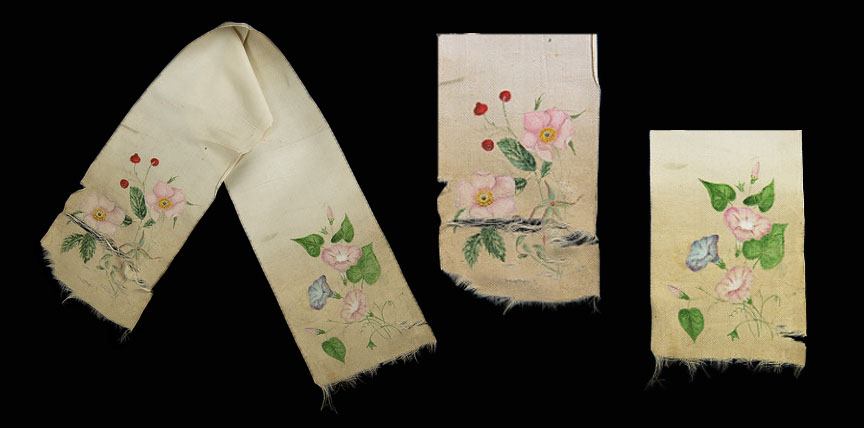Silk scarf with detailed views having botanical decoration by CM Badger