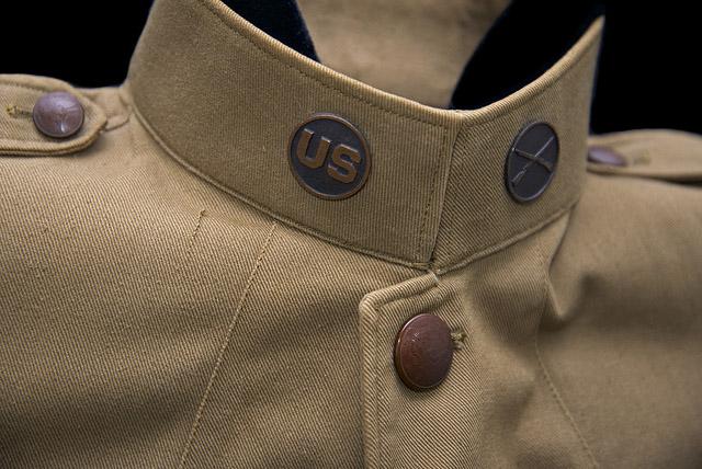 World War I khaki cotton jacket four button-flap pockets
