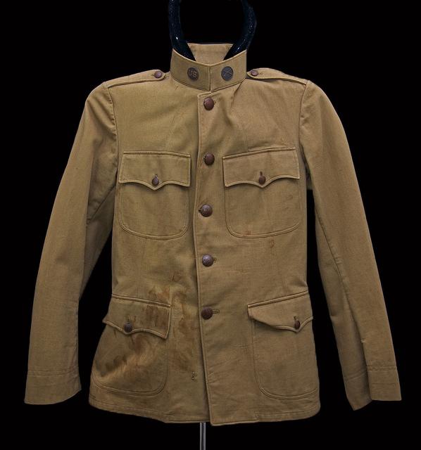 World War I khaki cotton jacket four button-flap pockets_2