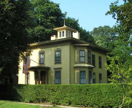 Italianate house of Daniel Hand, at 47 Fair Street in Guilford, CT. Built in 1878-1879 by George W. Seward and Sons.