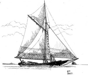 Drawing of Long Island Sound schooner by John F. Leavitt