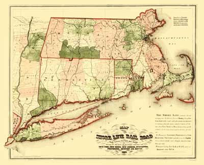 Map of the Shoreline Railroad - Route between New York and Boston, 1860
