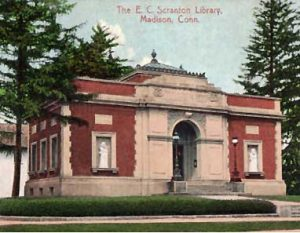 vintage postcard of the ec scranton memorial library