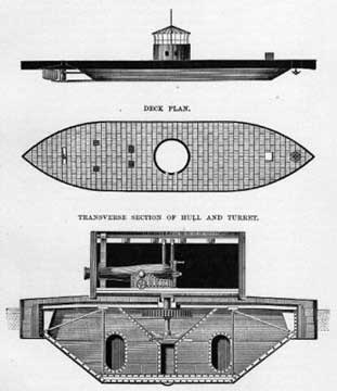 Sketch of transverse section of the hull and turret
