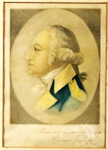 Colored lithograph of George Washington in profile by Frederick Reynolds, 1919