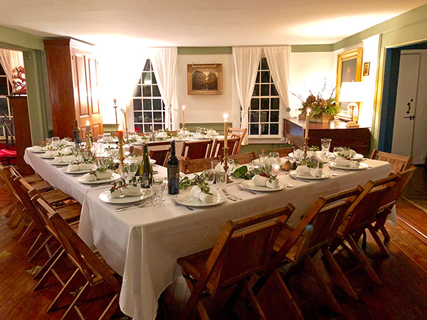 Holiday hearth dinner at the Allis-Bushnell House, Madison, CT