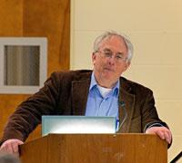 Joel Helander speaking at 2019 Lee Lectures on the Faulkkner Island Lighthouse Keeperthe